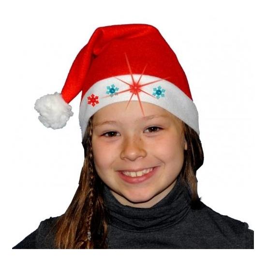 Kerstmuts met pompon rood met lampjes kinderen