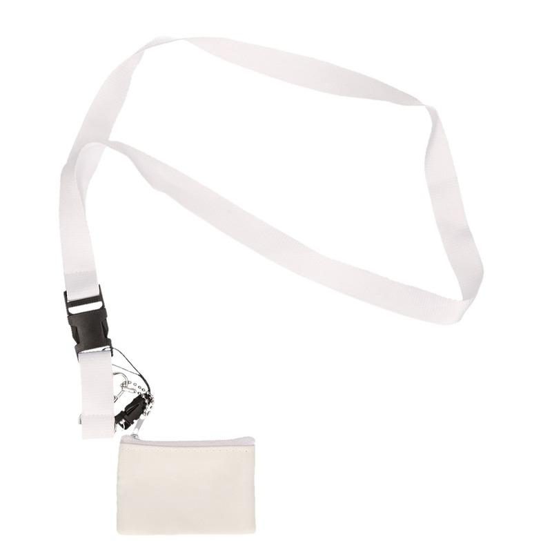 Kleine feest portemonnees/portefeuilles wit met keycord 8,5 cm