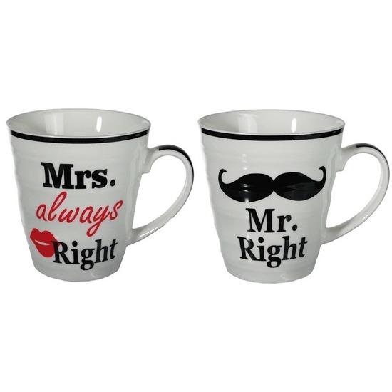 Koffiebeker set Mr Right en Mrs Always Right