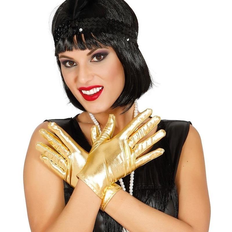 Korte verkleed handschoenen metallic goud 22 cm