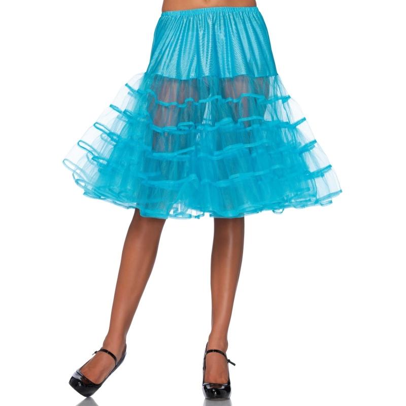 Lange tule onderrok turquoise voor dames