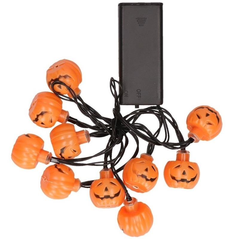 Lichtslinger pompoen 10 LED lampjes 140 cm
