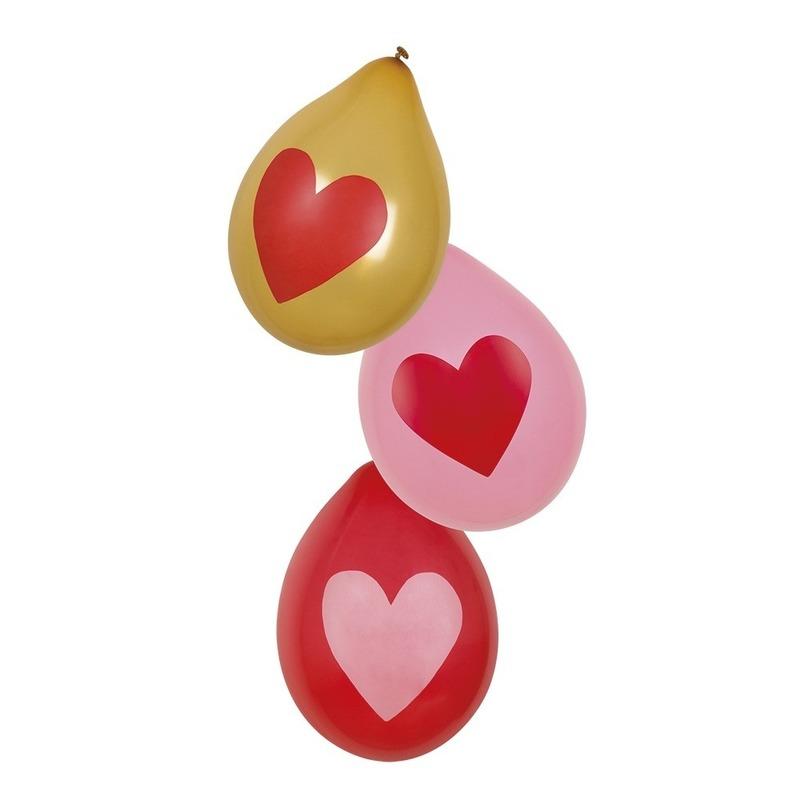 Love ballonnen rood, roze, goud 6 stuks
