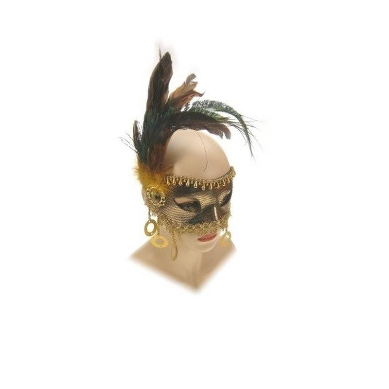 Masker in het goud met veren