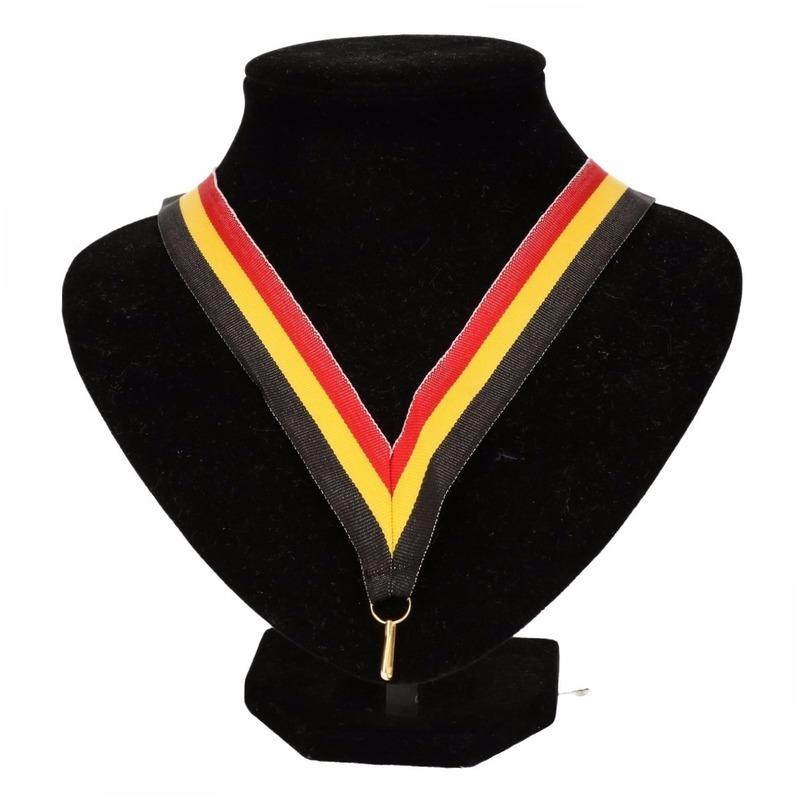 Medaille lint zwart-geel-rood
