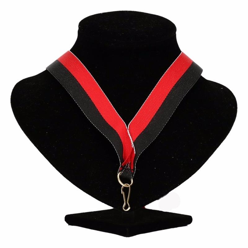 Medaille lint zwart-rood