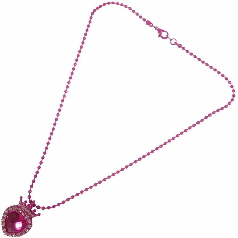 Meisjes ketting met roze hart en strass steentjes