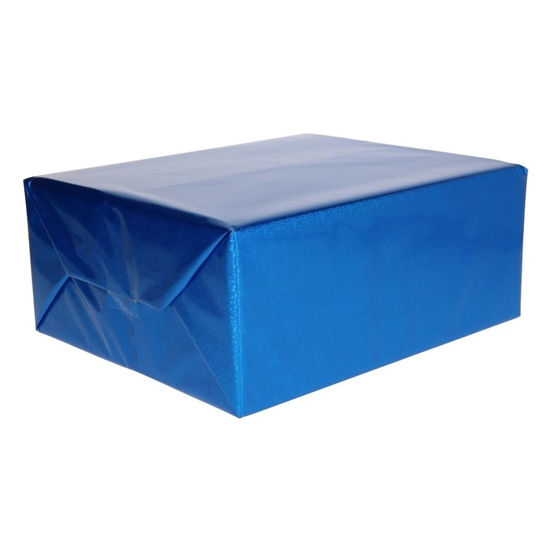 Metallic blauw kadopapier folie 70 x 150 cm