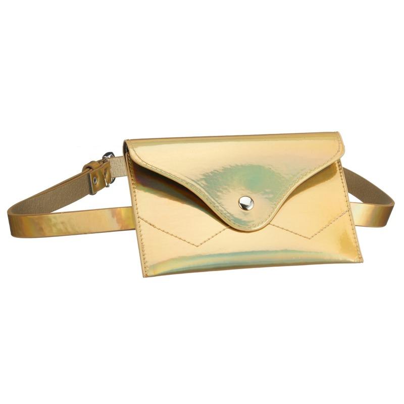 Metallic goud mini heuptasje aan riem voor dames
