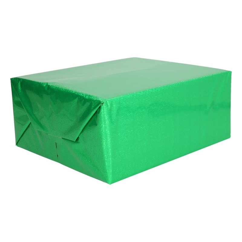 Metallic groen kadopapier folie 70 x 150 cm