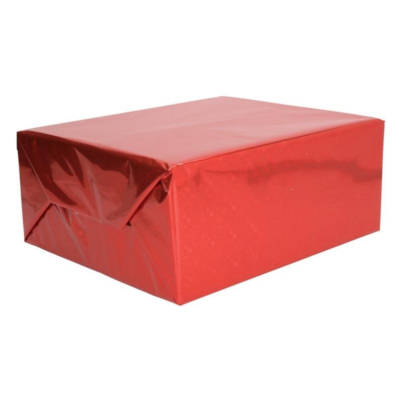 Metallic rood kadopapier folie 70 x 150 cm
