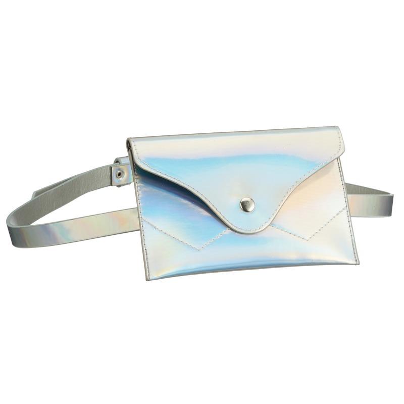 Metallic wit mini heuptasje aan riem voor dames