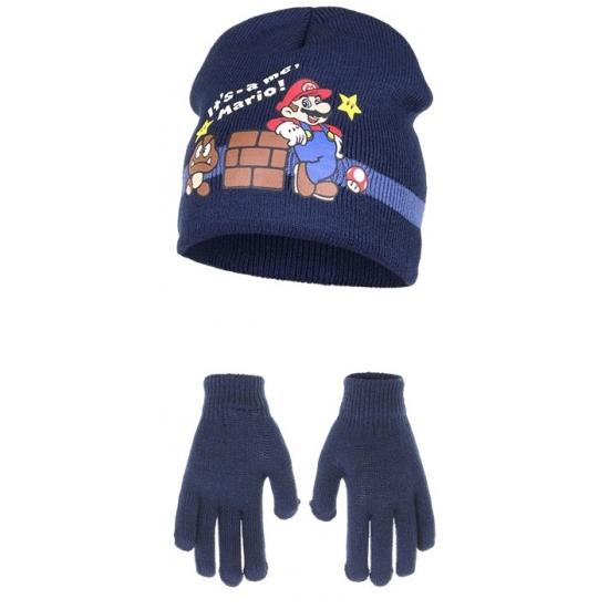 Navy blauwe Super Mario winteraccessoires