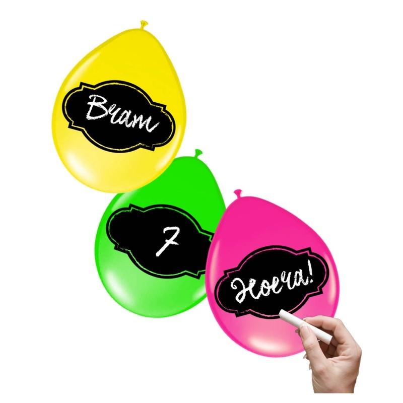 Neon gekleurde ballonnen 6x stuks met schrijfvlak