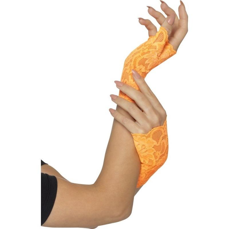 Neon oranje kanten handschoentjes zonder vingers