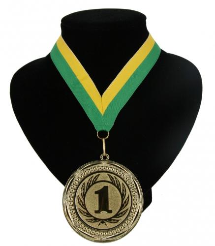 Nummer 1 medaille geel groen