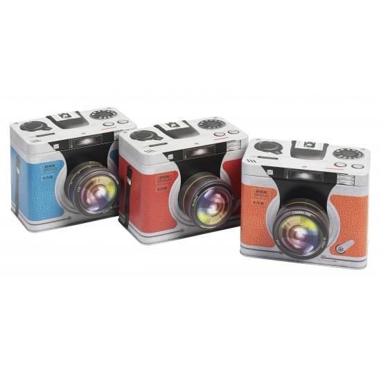 Opbergblik camera blauw