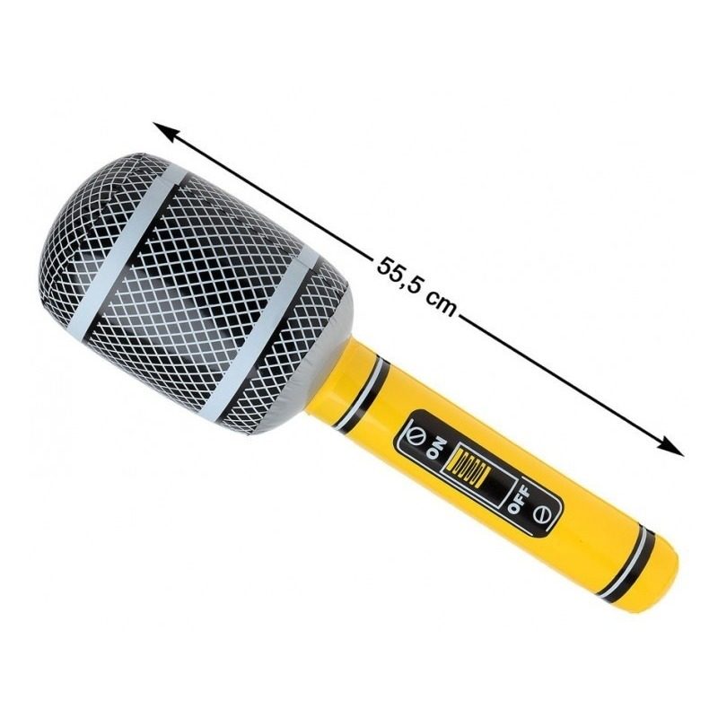 Opblaasbare microfoon geel/zwart 55 cm