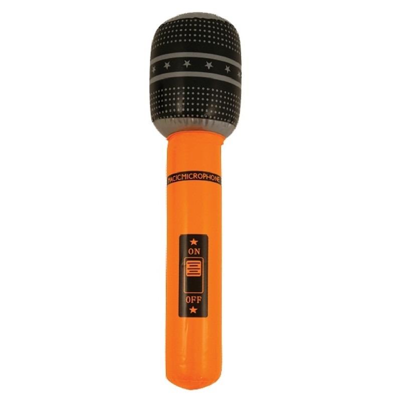 Opblaasbare microfoon oranje 40 cm