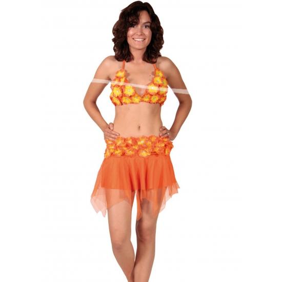 Oranje bikini top en rokje
