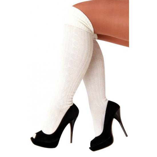 Overknee Tiroler dames sokken wit