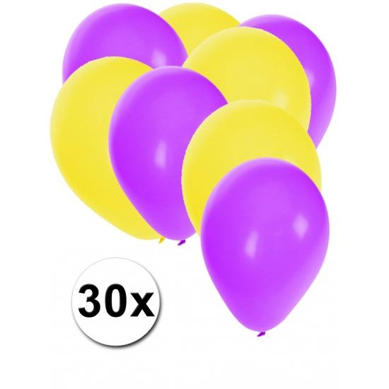 Paarse en gele ballonnen 30 stuks