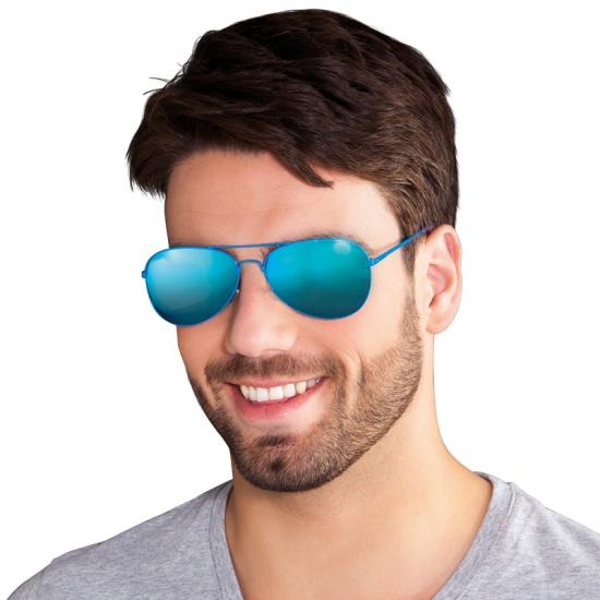 b2edfffa04e562 Blauwe piloten bril met spiegel glazen voor een Disco party