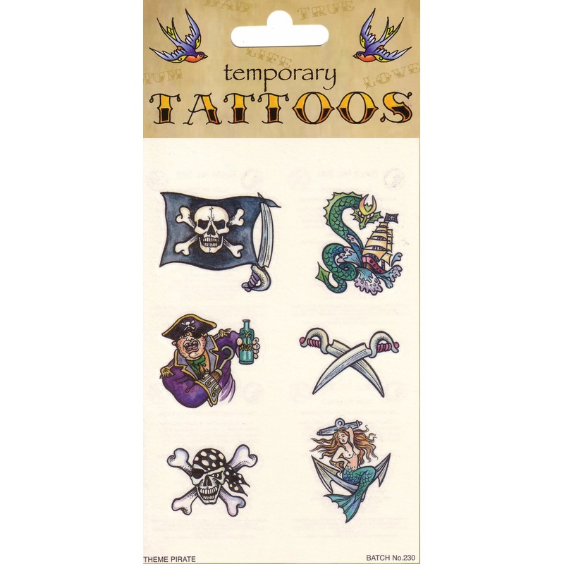 Piraten tatoeage set 6 stuks