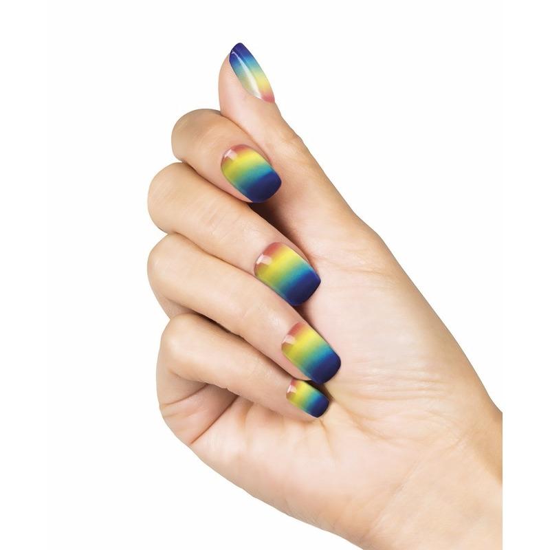 Plak nagels regenboog 24 stuks