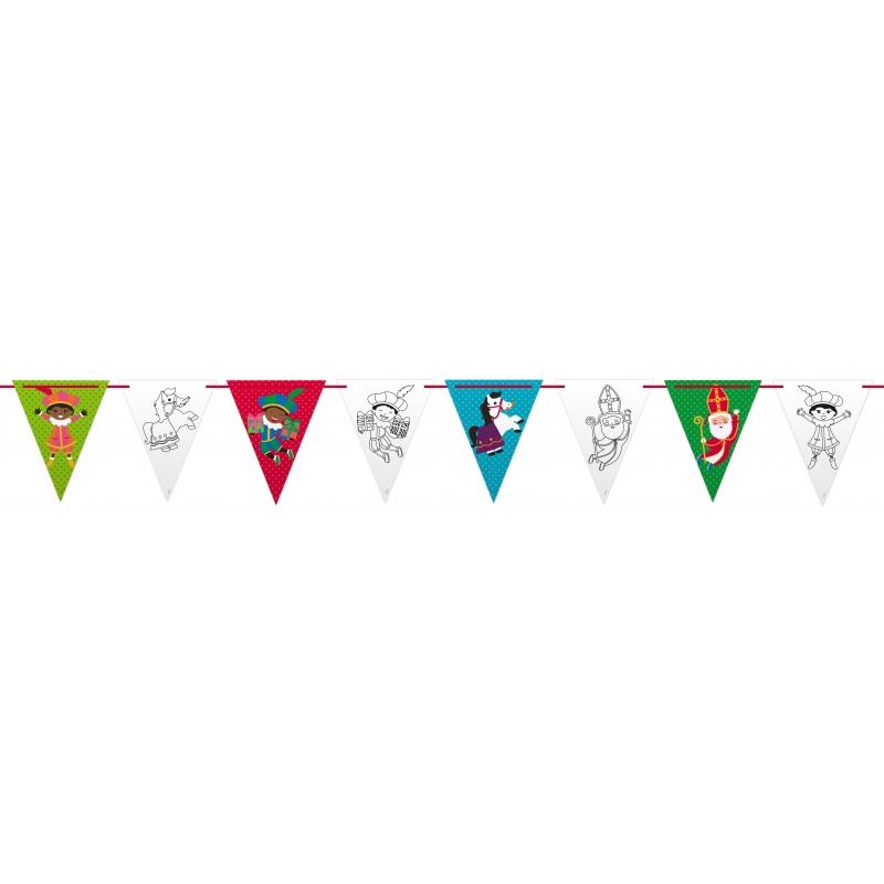 Plastic Sinterklaas vlaggenlijn slingers 6 m