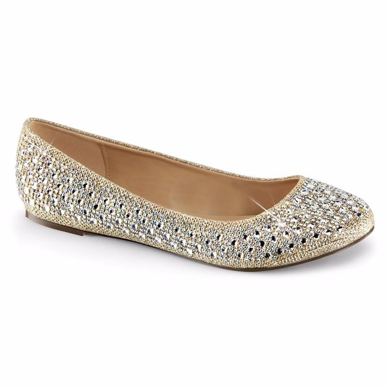 Platte schoentjes goud met glitters voor dames