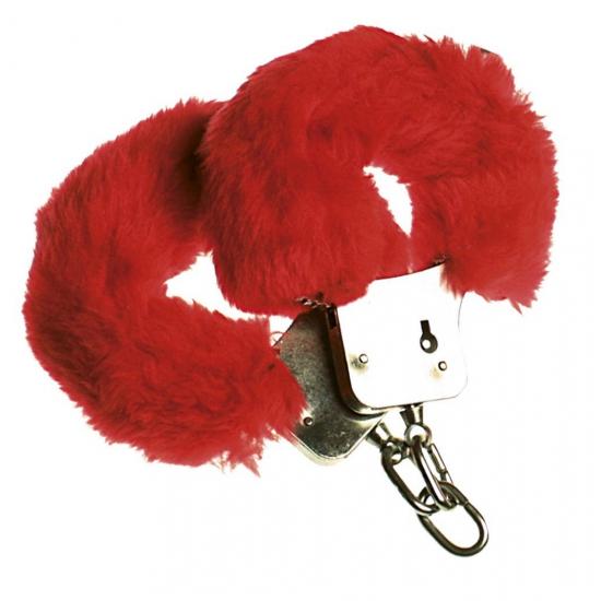 Pluche handboeien rood voor volwassenen