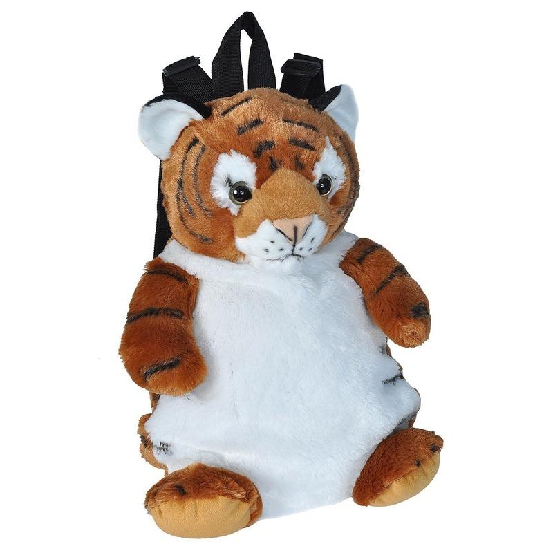 Pluche knuffel tijger kinder rugzak/rugtas 33 cm schooltas