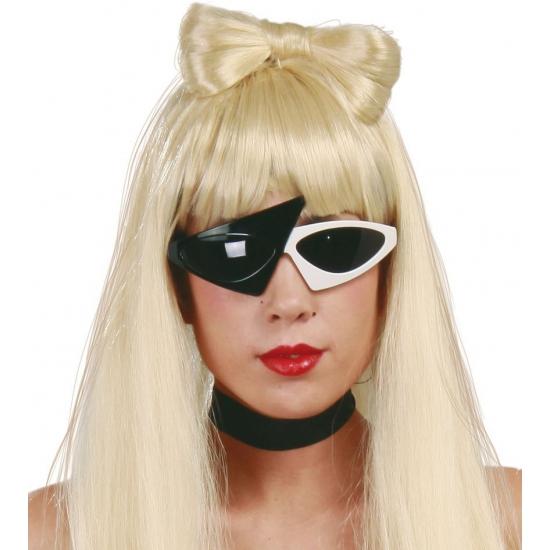 Popster zonnebril zwart - wit