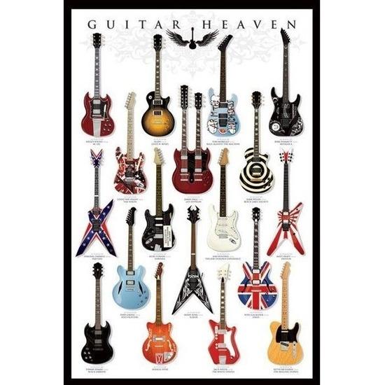 Poster met gitaren muziek thema 61 x 91 cm