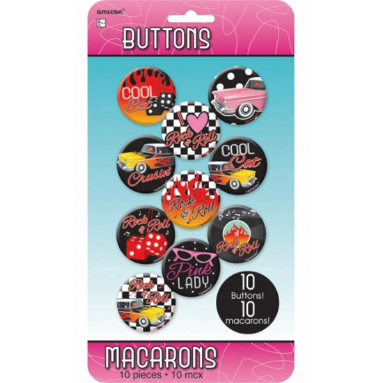 Rock and Roll thema buttons 10 stuks
