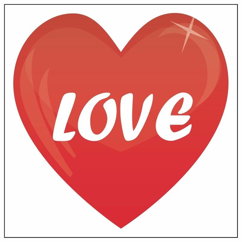 Rode hartjes sticker Love 10,5 cm