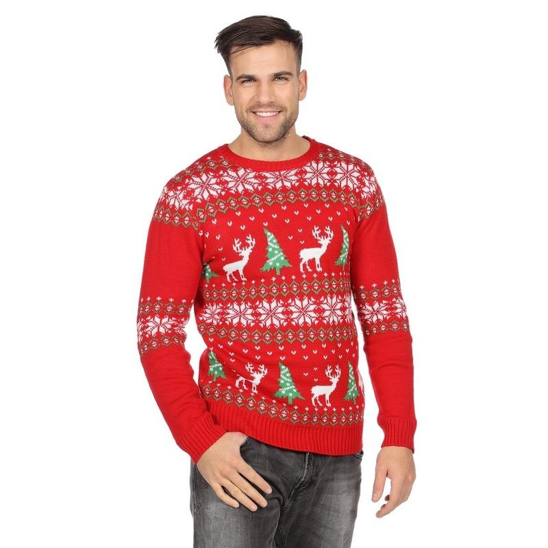 Kersttrui Heren Rendier.Rode Kerst Sweater Met Rendieren Voor Heren Voor Een Disco Party