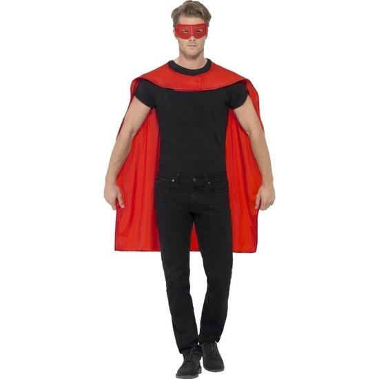 Rode superhelden verkleed cape met masker