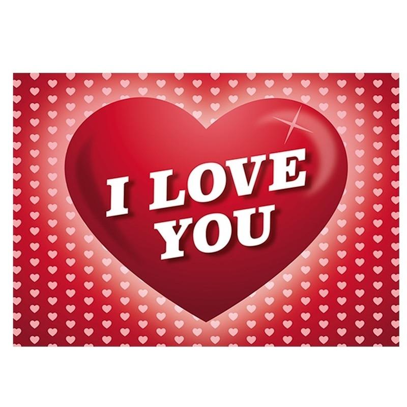 Romantische ansichtkaart - Valentijnskaart met hartjes