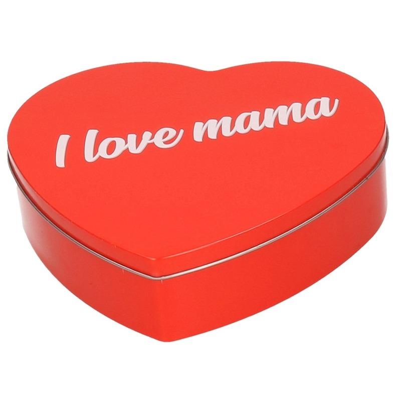 Rood I Love Mama hart snoeptrommel 18 cm