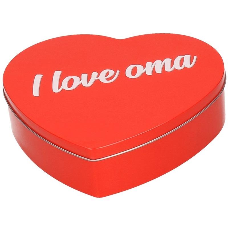 Rood I Love Oma hart snoeptrommel 18 cm