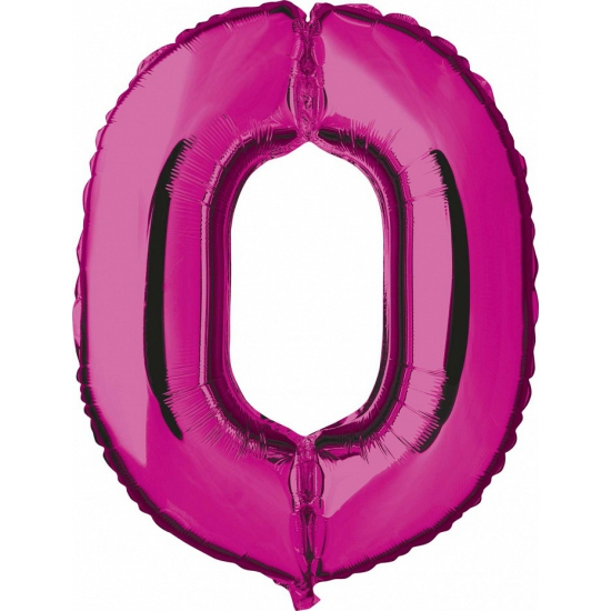 Roze ballon cijfer 0