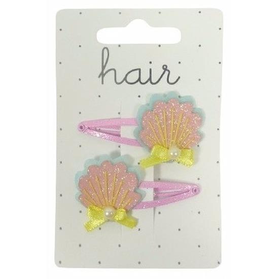 Roze/gele meiden haarclips met glitter schelpen