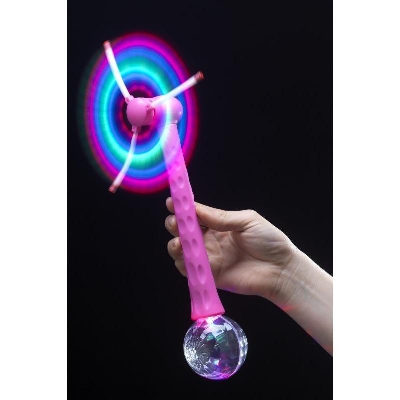Roze hand ventilator met discobal 28 cm