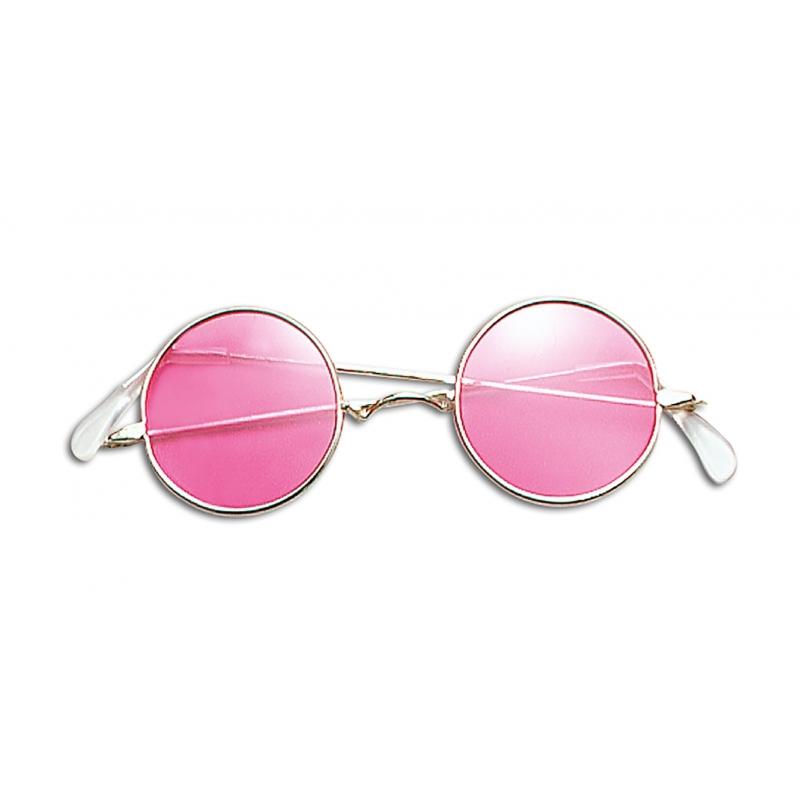 Roze hippie flower power bril