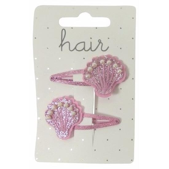 Roze meiden haarclips met glitter schelpen
