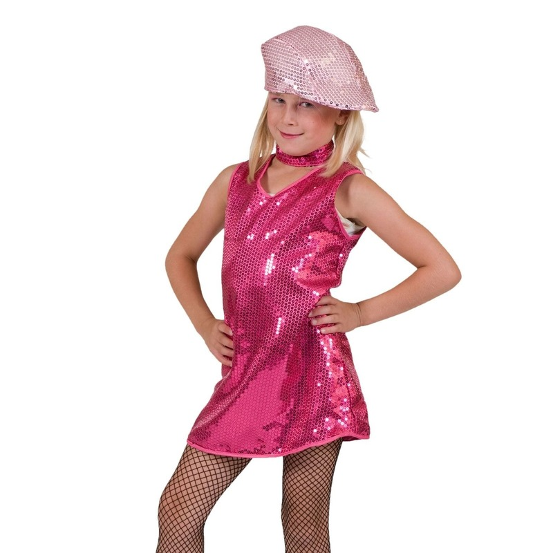 Roze showjurkje pailletten kinderen