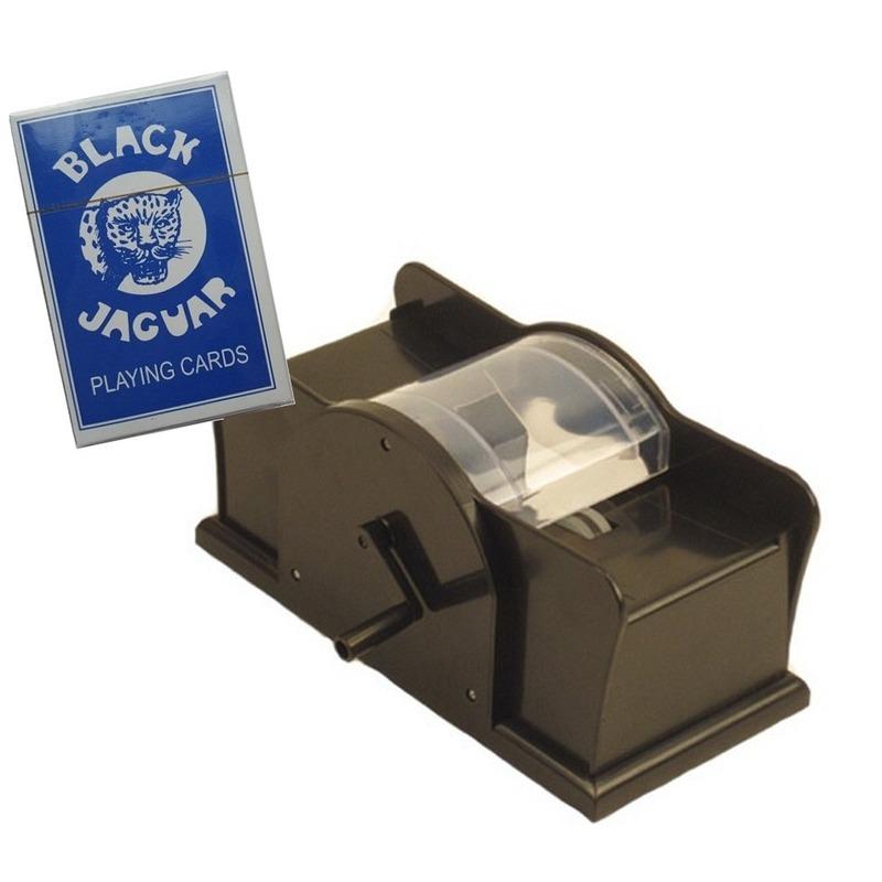 Set spelkaarten schudmachine en een spel professionele speelkaarten