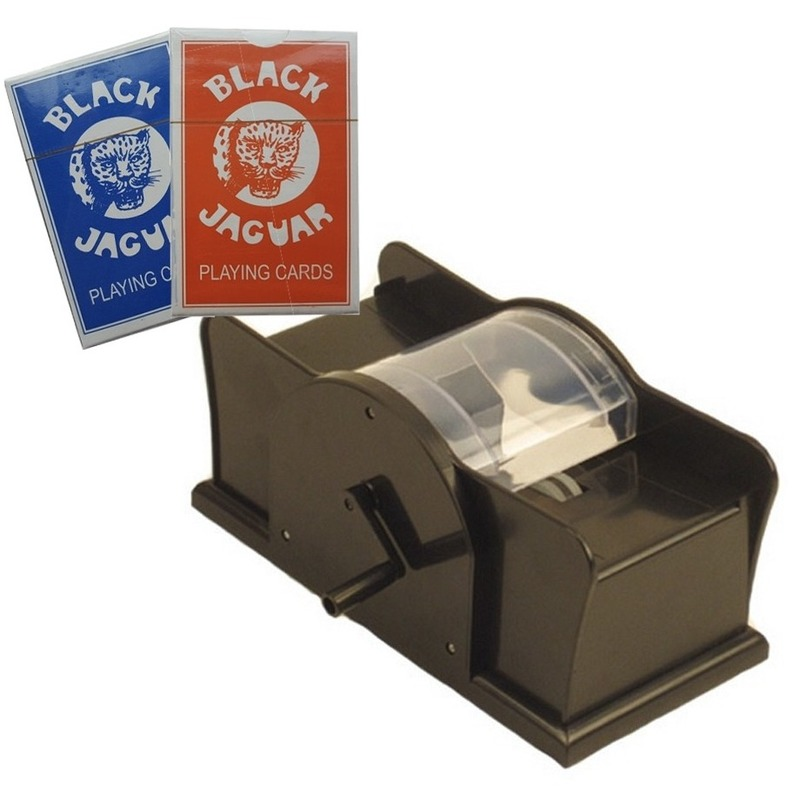 Set spelkaarten schudmachine en twee pakjes professionele speelkaarten